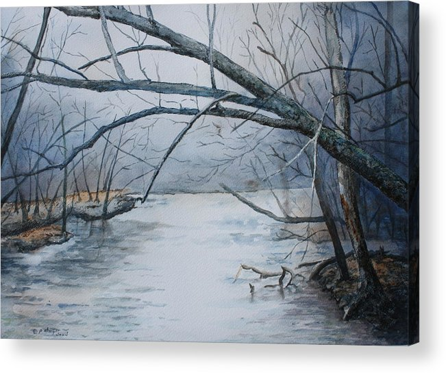 River Acrylic Print featuring the painting Misty Morning On The Red River by Patsy Sharpe