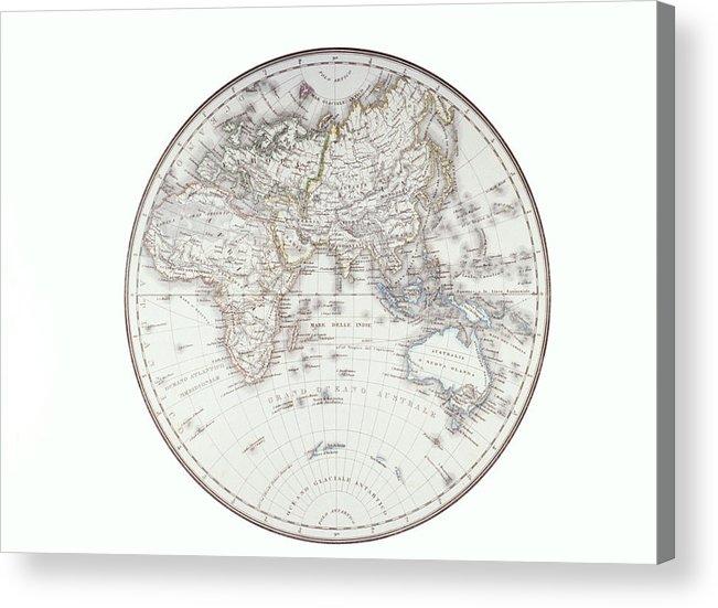Horizontal Acrylic Print featuring the digital art Planispheric Map Of The Eastern Hemisphere by Fototeca Storica Nazionale