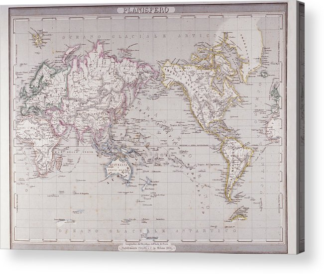 Horizontal Acrylic Print featuring the digital art Planispheric Map Of The World by Fototeca Storica Nazionale