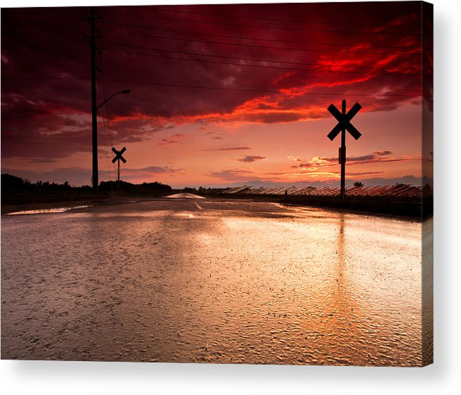 Sunset Acrylic Print featuring the photograph Railroad Sunset by Cale Best