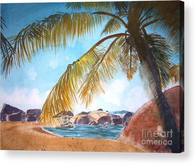 Hawaii Acrylic Print featuring the painting Secluded Beach by Rob Ladely