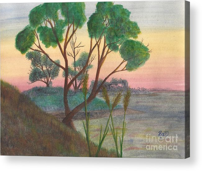 Watercolor Acrylic Print featuring the painting Taking A Moment... by Robert Meszaros