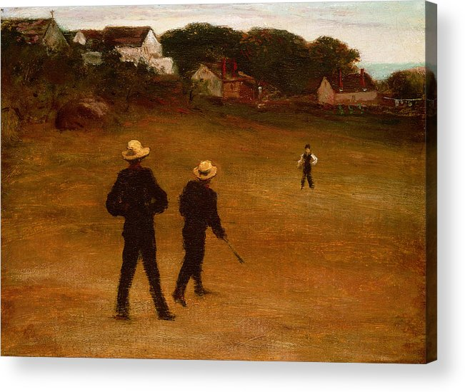 The Acrylic Print featuring the painting The Ball Players by William Morris Hunt