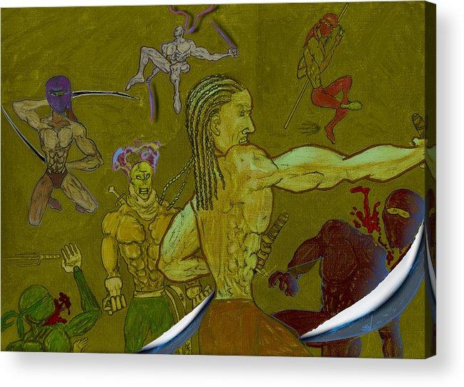 Assiduous Artists Acrylic Print featuring the digital art Ninja War by Shako