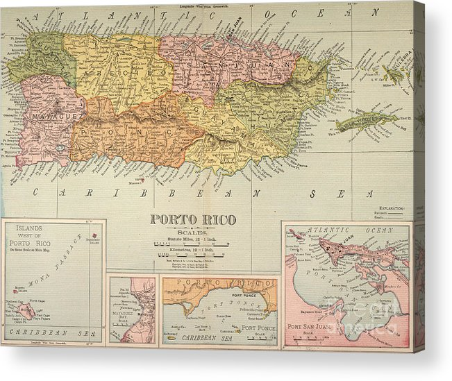 1900 Acrylic Print featuring the painting Map: Puerto Rico, 1900 by Granger