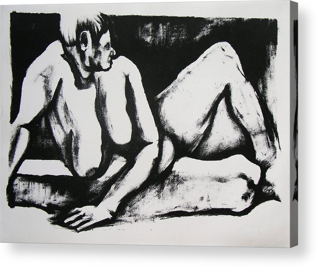 Nude Acrylic Print featuring the drawing Air Conditioned Stomach by Brad Wilson