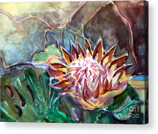 Banana Acrylic Print featuring the painting Japanese Flower Arrangement by Mindy Newman