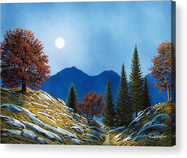 Landscape Acrylic Print featuring the painting Mountain Moonrise by Frank Wilson