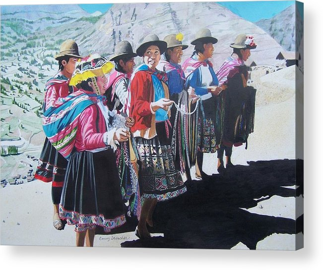 Outdoors Acrylic Print featuring the mixed media Peruvian Ladies by Constance Drescher