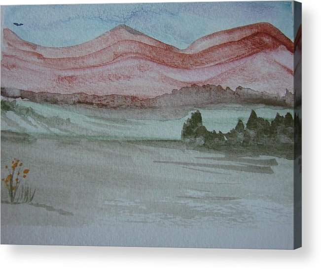 Mountains Acrylic Print featuring the painting Pink Mountains by Dottie Briggs