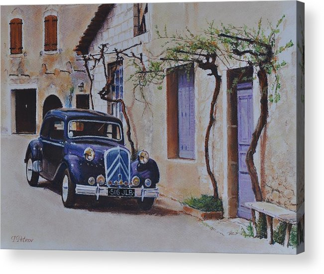 Classic Cars Acrylic Print featuring the painting 1951's Citroen by Iliyan Bozhanov