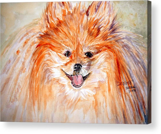 Dog Acrylic Print featuring the painting Deegee by Donna Hanna