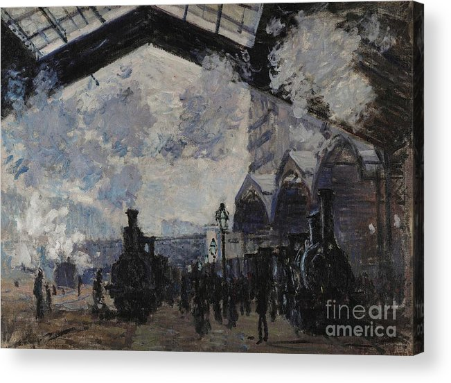 Claude Acrylic Print featuring the painting The Gare St Lazare by Claude Monet