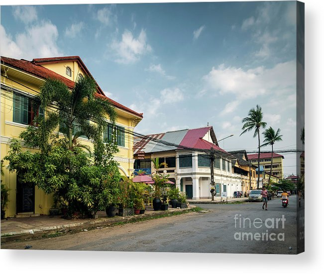Architecture Acrylic Print featuring the photograph Old French Colonial Architecture In Kampot Town Street Cambodia by Jacek Malipan
