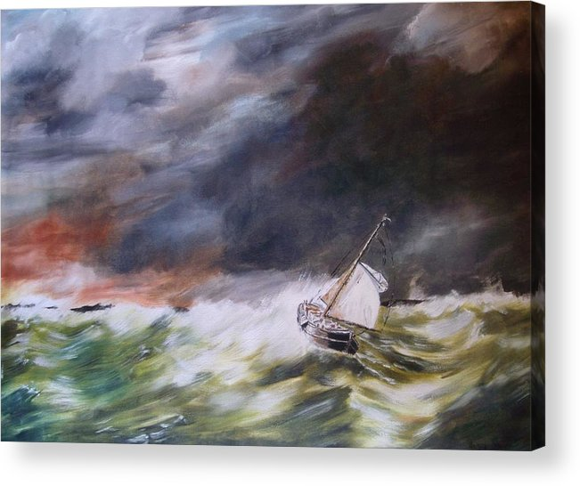 Boat Acrylic Print featuring the painting A Bit Rough by Andy Davis