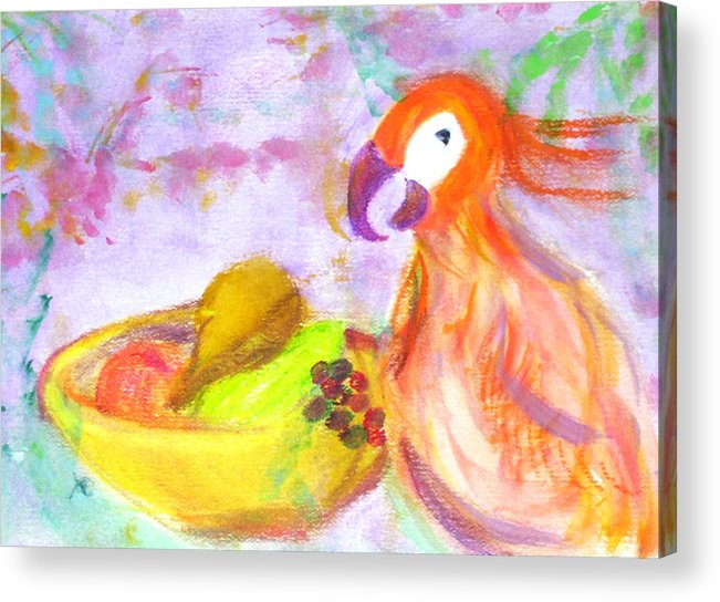 Parrot Acrylic Print featuring the painting A Parrot And The Passion Fruit by Michela Akers