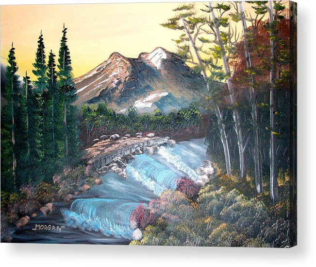 Landscape Acrylic Print featuring the painting A River Runs Through It by Sheldon Morgan