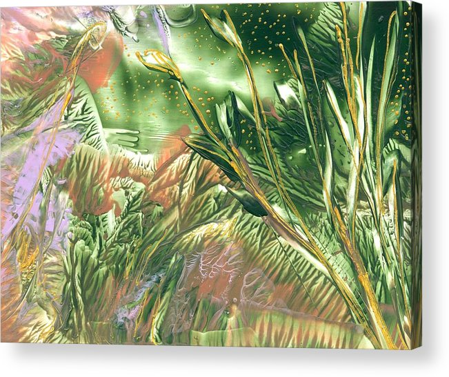 Abstract Encaustic Acrylic Print featuring the painting A Secret Forest by Heather Hennick