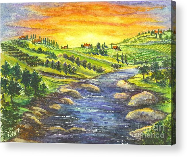 California Acrylic Print featuring the painting A Sunset In Wine Country by Carol Wisniewski