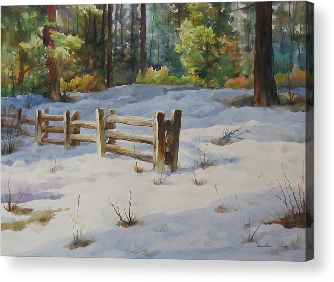 Landscape Acrylic Print featuring the painting A Winter Morning by Kelvin Lei