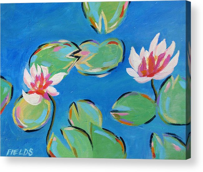 Lily Pads Acrylic Print featuring the painting Abstract Lily Pads by Karen Fields
