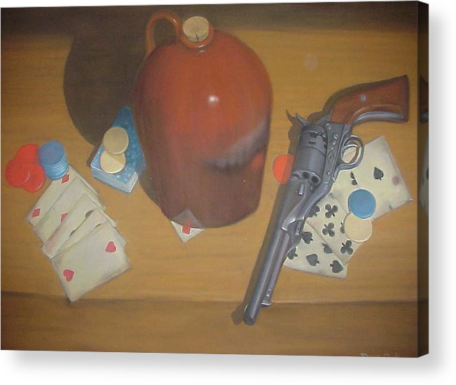 Playing Cards Acrylic Print featuring the painting Aces And Eights Or Dead Man's Hand by Diane Caudle