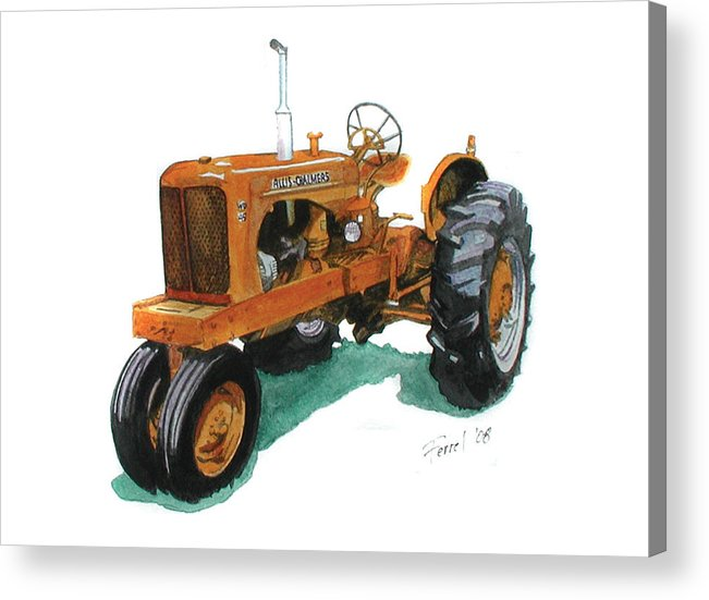 Allis Chalmers Tractor Acrylic Print featuring the painting Allis Chalmers Tractor by Ferrel Cordle