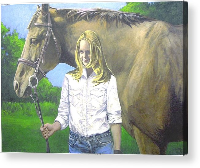 Portrait Acrylic Print featuring the painting Alyssa And Joe by Steve Greco