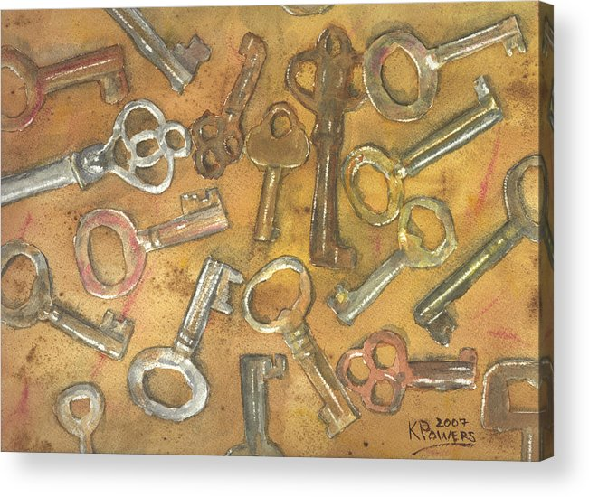 Skeleton Acrylic Print featuring the painting Assorted Skeleton Keys by Ken Powers