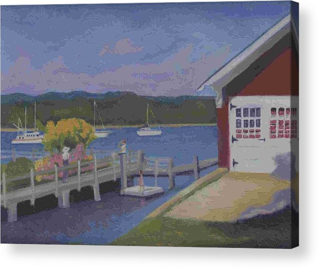 Landscape Acrylic Print featuring the painting At The Dock by Paula Emery