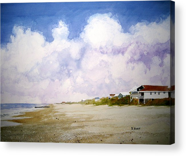 Landscape Acrylic Print featuring the painting Beach Cottages by Shirley Braithwaite Hunt