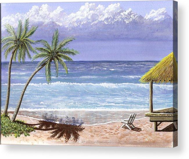 Ocean Acrylic Print featuring the painting Beach House by Don Lindemann
