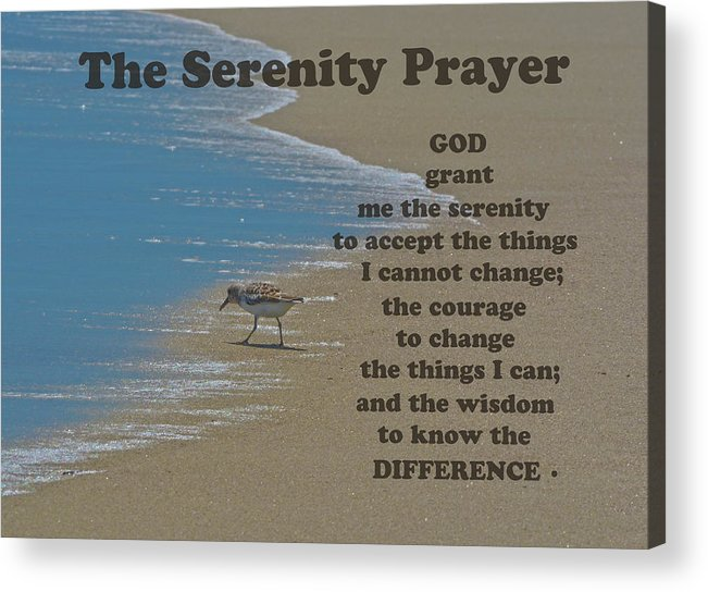The Serenity Prayer Acrylic Print featuring the photograph Beach Serenity Prayer by Sandi OReilly