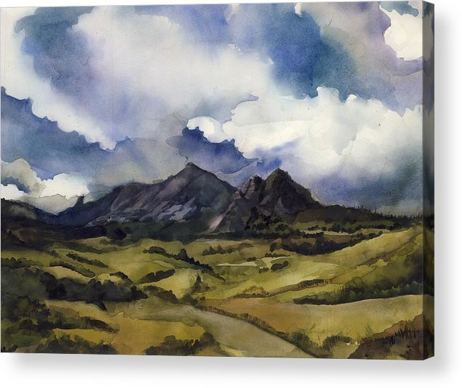 Landscape Acrylic Print featuring the painting Bear Mountain Colorado by Alfred Ng