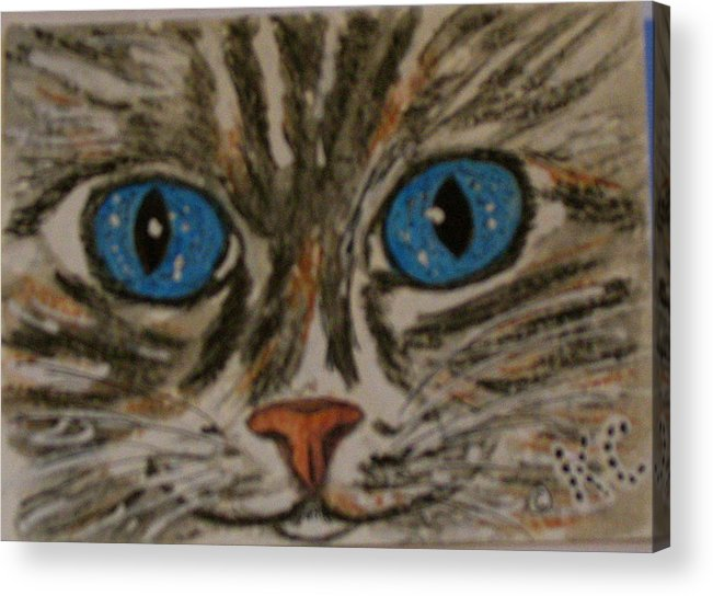 Blue Eyes Acrylic Print featuring the painting Blue Eyed Tiger Cat by Kathy Marrs Chandler