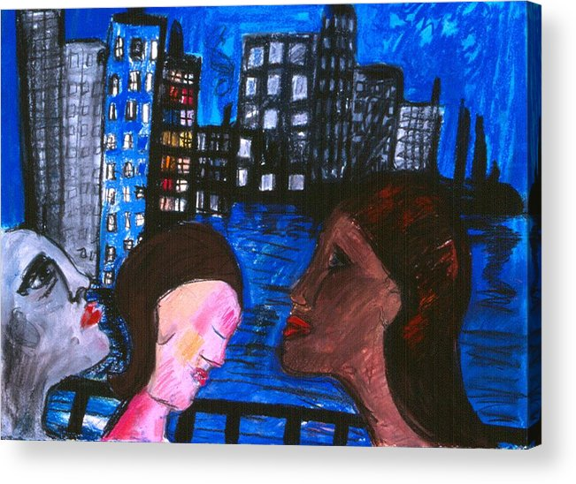 People Wander Along A City Promenade At Night Acrylic Print featuring the drawing Blue Promenade by Nina Talbot