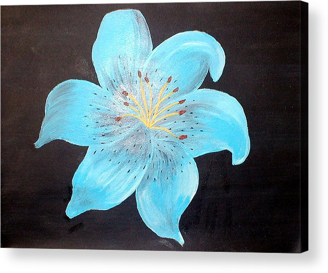 Flora Acrylic Print featuring the painting Blue Tiger Lily by Sandy Wager