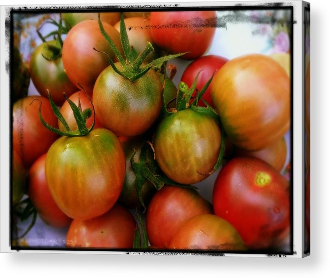 Tomato Acrylic Print featuring the photograph Bowl Of Heirloom Tomatoes by Kathy Barney