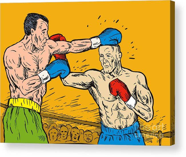 Boxing Acrylic Print featuring the digital art Boxer Punching by Aloysius Patrimonio