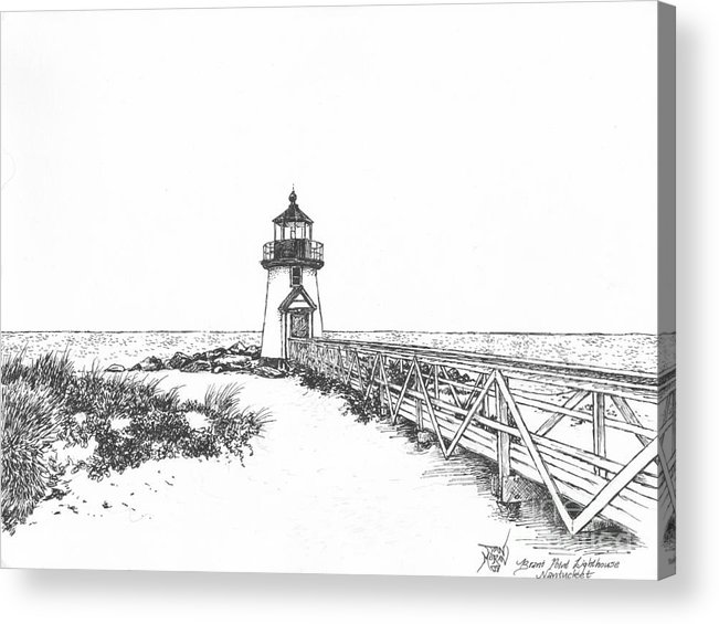 Lighthouse Acrylic Print featuring the drawing Brant Point Lighthouse by Dan Moran