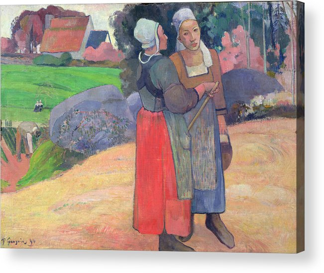 Breton Peasants Acrylic Print featuring the painting Breton Peasants by Paul Gauguin