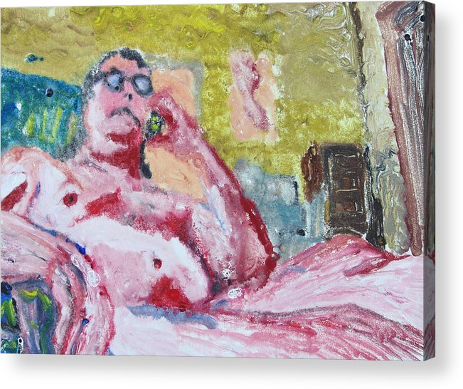 Buddha Acrylic Print featuring the painting Buddha Gets Bad News In La by John Toxey