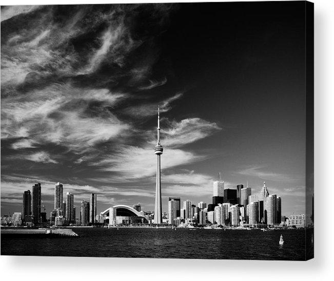 Toronto Acrylic Print featuring the photograph Bw Skyline Of Toronto by Andriy Zolotoiy