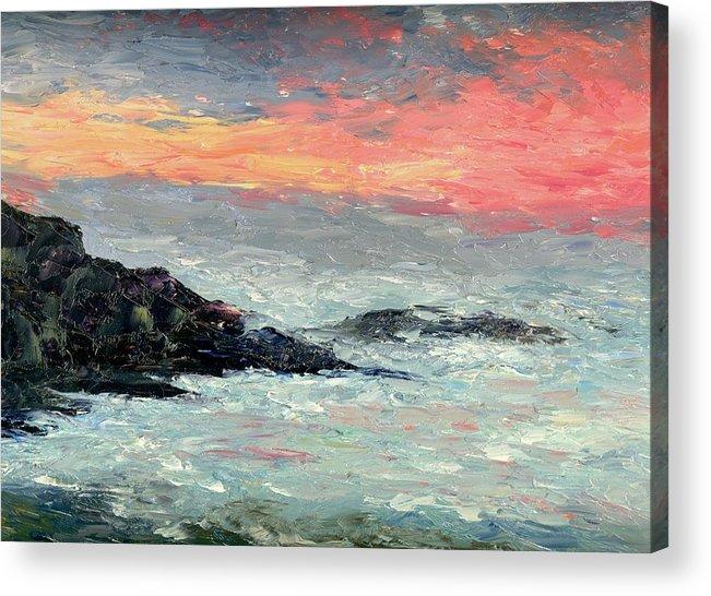 Seascape Acrylic Print featuring the painting California Coast by Gail Kirtz