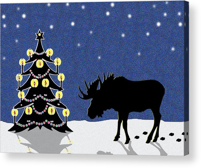 Moose Acrylic Print featuring the digital art Candlelit Christmas Tree And Moose In The Snow by Nancy Mueller