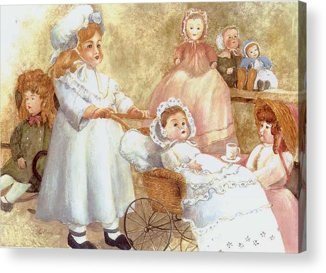 Dolls;toys;antiques;doll Carraige; Acrylic Print featuring the print Caroline's Dolls by Lois Mountz