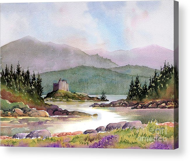 Castle Acrylic Print featuring the painting Castle Tioram by Anthony Forster