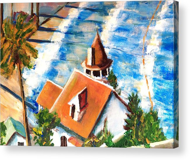 Catalina Acrylic Print featuring the painting Catalina Cottage Sold by Randy Sprout