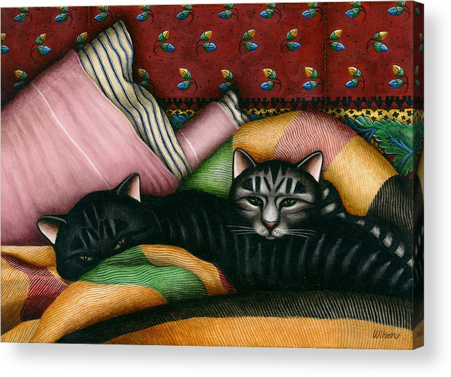 Black Cat Acrylic Print featuring the painting Cats With Pillow And Blanket by Carol Wilson