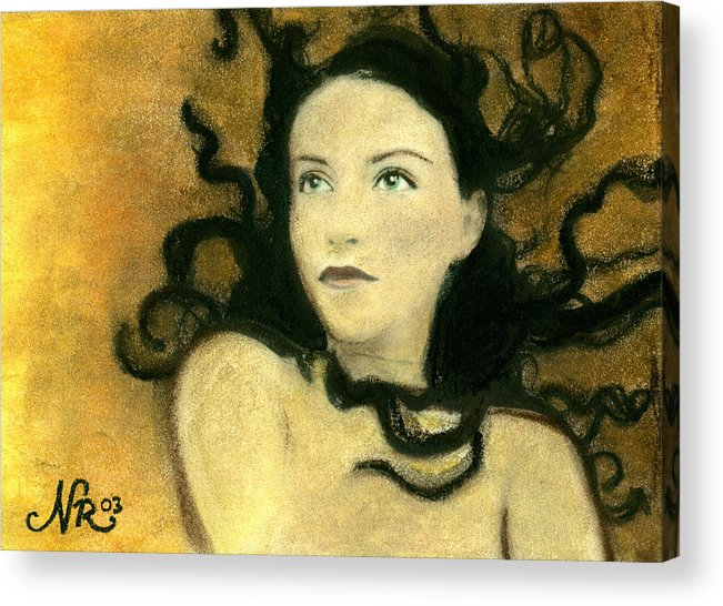 Portrait Acrylic Print featuring the painting Chaos Theory by Natalie Roberts